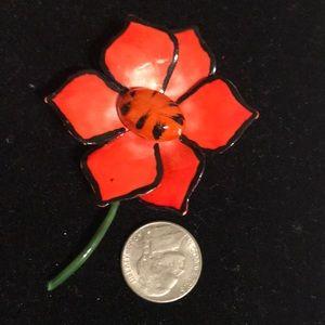 Vintage original by Robert red flower pin